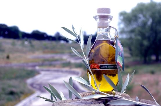 Botella de aceite de oliva extra virgen con una rama de aceituna